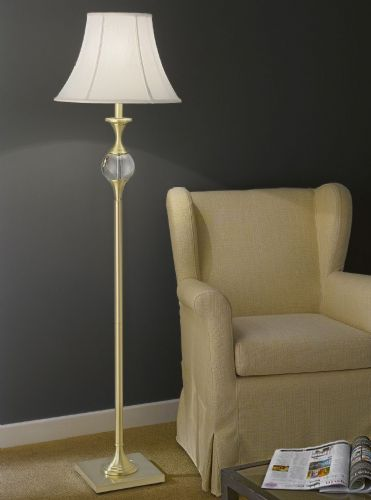 Franklite SL204 Satin Brass Floor Lamp (Class 2 Double Insulated)